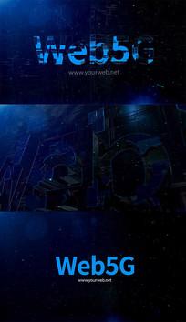 E3D蓝色高科技互联网文字标题片头模板
