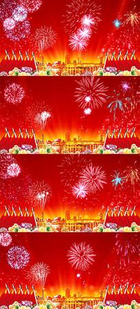 动画动态华表红旗红绸烟花燃放国庆视频素材