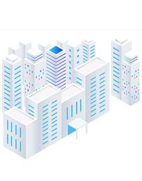 简约科技风立体教学楼建筑元素