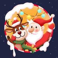 原创元素圣诞老人麋鹿插画