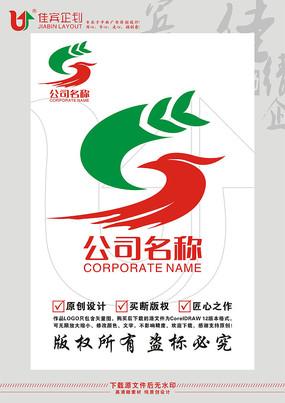 S英文字母麦穗凤凰鸟标志设计