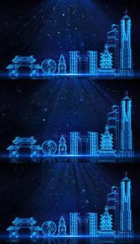 蓝色科技城市杭州城市建筑视频模板