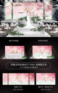 唯美婚礼舞台效果图背景板