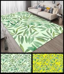 小清新绿叶地垫地毯设计