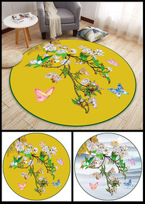 新中式花朵蝴蝶花纹地毯设计