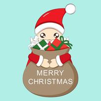 原创圣诞老人抱礼物卡通表情