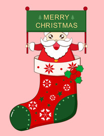 原创圣诞袜里的圣诞老人