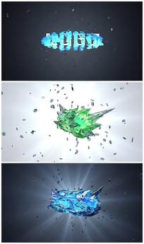 抽象碎玻璃片头LOGO视频模板