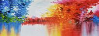 高清手绘抽象公园风景油画无框画