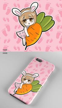 可爱萝莉手机壳图案设计