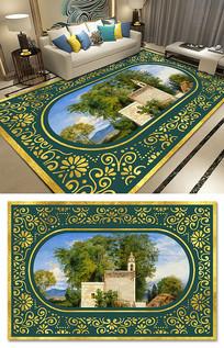 欧式复古奢华提花风景油画大地毯图案设计