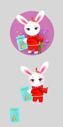 原创可爱卡通兔手拿玻璃瓶