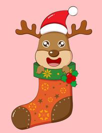 原创圣诞袜里的麋鹿