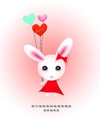 原创手绘可爱卡通兔