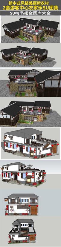 2套新中式农家乐游客中心和中式饭店