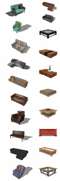 多款沙发、茶几su模型