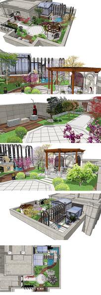 高层小区屋顶花园设计SKP模型全景模型