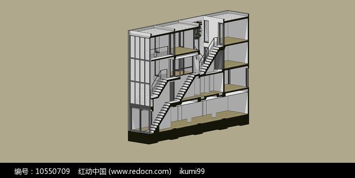 高层住宅建筑剖面SU模型图片