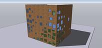 红砖多窗户建筑住宅SU模型
