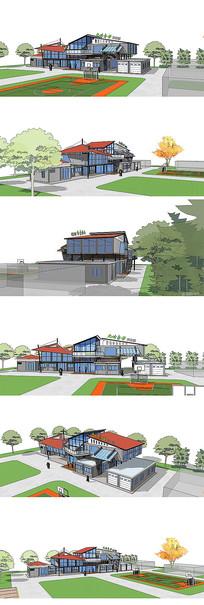 售楼部集装箱建筑SKP方案模型模块化