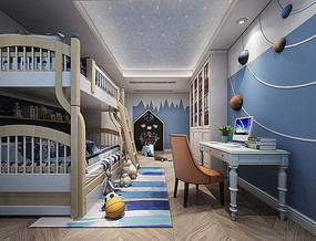 现代儿童房卧室3d模型含高清效果图