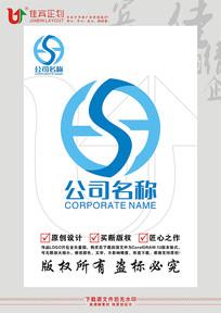 SH英文字母运输物流车轮LOGO标志设计
