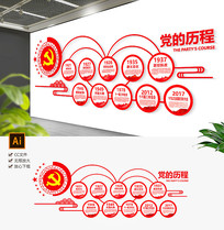 光辉历程党建文化墙党员活动室文化墙