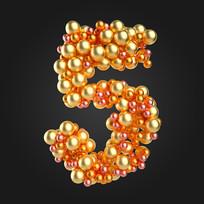 金属球倒计时数字5