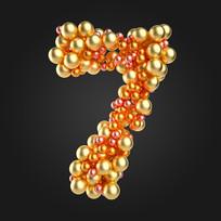 金属球倒计时数字7