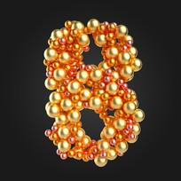 金属球倒计时数字8