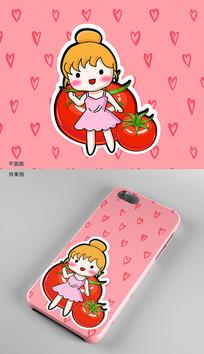 可爱卡通番茄手机壳图案设计 AI