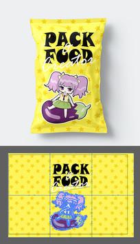 清新休閑食品包裝袋設計