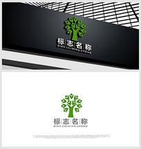 人物设计融合树形象logo设计