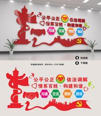 原创红色社区派出所人民调解室文化墙