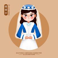 原创元素56个民族人物插画-塔塔尔族
