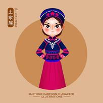原创元素56个民族人物插画-土家族