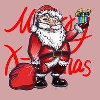 原创元素圣诞老人举礼盒插画