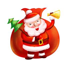 原创元素圣诞老人拿圣诞树喇叭
