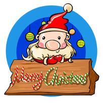 原创元素圣诞老人圣诞快乐牌子