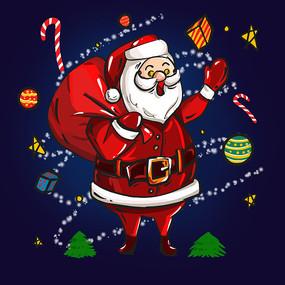 原创元素圣诞老人送礼物