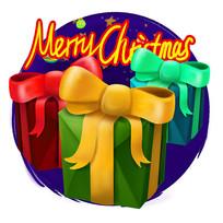 原创元素圣诞礼物盒插画
