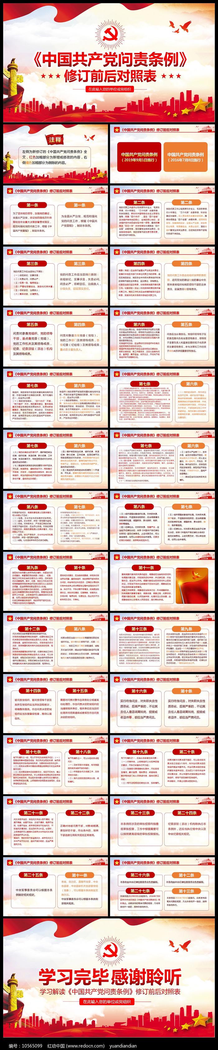 中国共产党问责条例修订前后对照表PPT图片