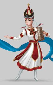 原创蒙古族女孩插画设计