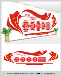 红色大气党建活动室文化墙设计