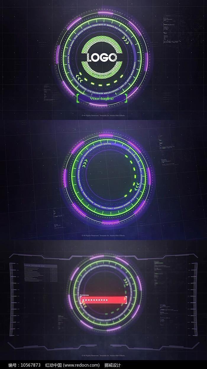 科技显示界面输入密码logo片头pr模板 图片