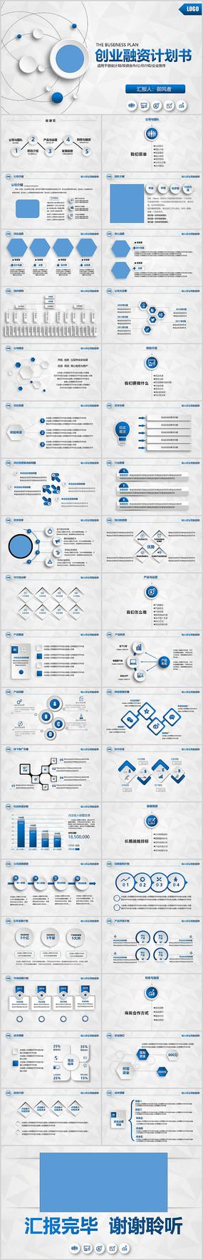 蓝色商业计划书创业融资PPT