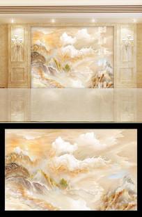 高清金色山水大理石背景墙