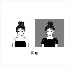黑白美女头像卡通人物