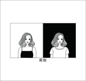 黑白美女头像卡通矢量图