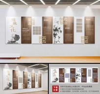 中国风竹子廉政文化墙党员活动室